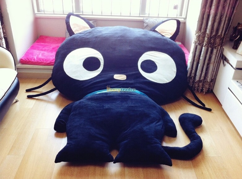 Fancytrader New Cute Cat Bed 220cm X 150cm Huge Giant Cute Black Cat Bed Carpet Sofa Tatami, Great Gift! Free Shipping FT90352 fancytrader new style giant plush stuffed kids toys lovely rubber duck 39 100cm yellow rubber duck free shipping ft90122