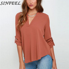S-5XL Long Sleeve Women Chiffon Shirts Sexy V Neck Womens Tops And Blouses Casual Female Clothes Plus Size Blusas