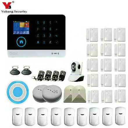 YobangSecurity WIFI 3G GSM Alarm System Home Burglar Alarm Touch Screen RFID Wireless Alarm System IP Camera PIR Motion Sensor yobangsecurity touch keypad wifi gsm gprs home security voice burglar alarm ip camera smoke detector door pir motion sensor