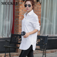 MCCKLE Women Blouses Shirts Summer Spring Tuen Down Collar Buttons Buttons Femininas Long Sleeve Blusas Womens