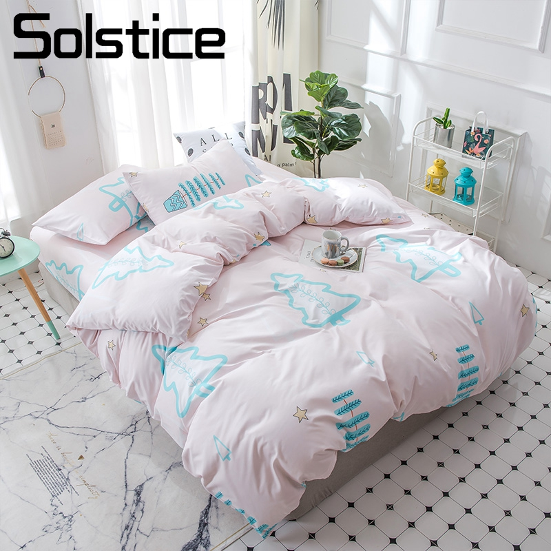 Solstice Home Textile Christmas Tree Pink Pale Duvet Cover Pillowcase Flat Bed Sheets Girl Kid Child Teen Bedding Set Full Queen
