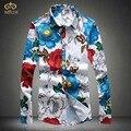 MIUK Большой Размер 3D Цветочные Мужчины Рубашка M ~ 5XL Марка Clothing Хлопка С Длинным Рукавом Рубашки Цветок Camisetas Masculinas 2017 Новый