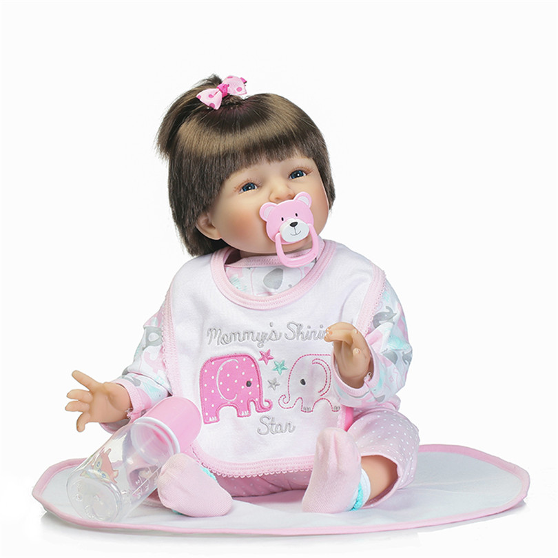 Early Education House Toys With Short Brown Hair Sweet Smile Lovely Girl Baby Poupee End-High Silicone Simulation Christmas Gift