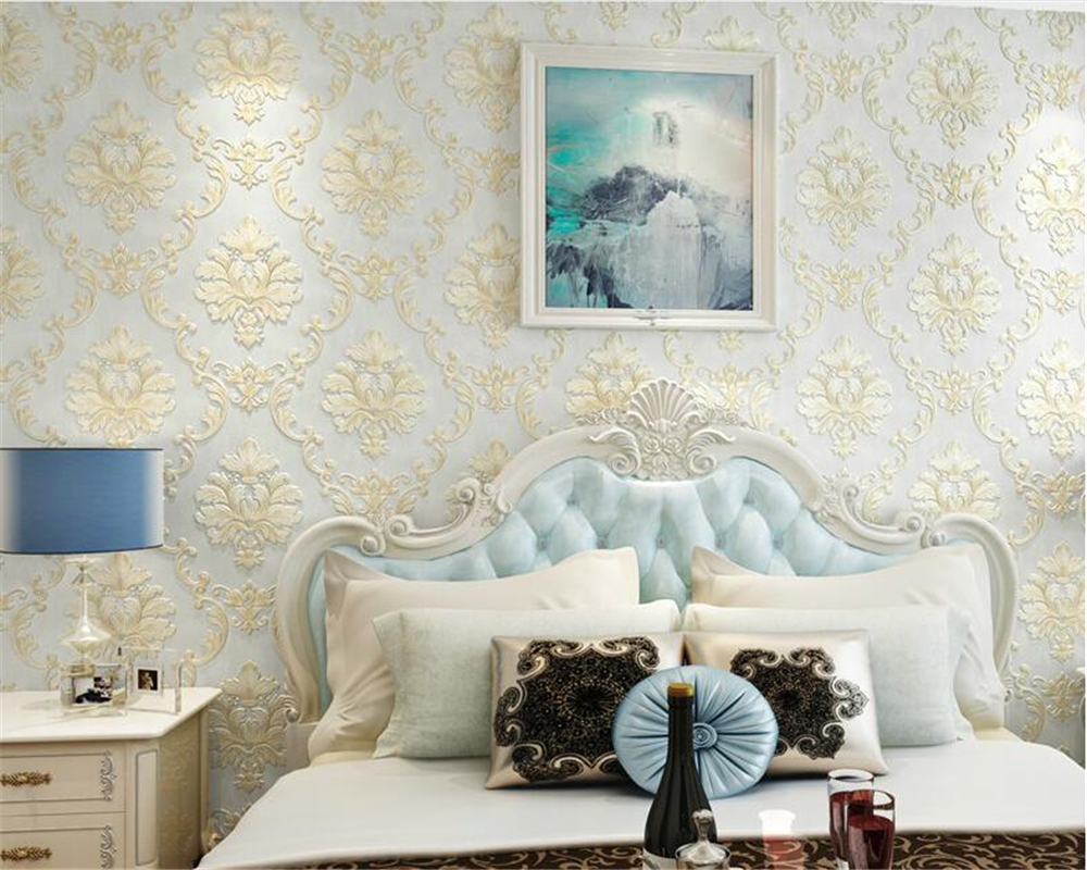 beibehang Fashion papel de parede Nonwovens 3d Wallpaper Stereo Relief Damascus Bedroom wallpaper Living Room TV Background Wall beibehang nonwovens healthy fashion