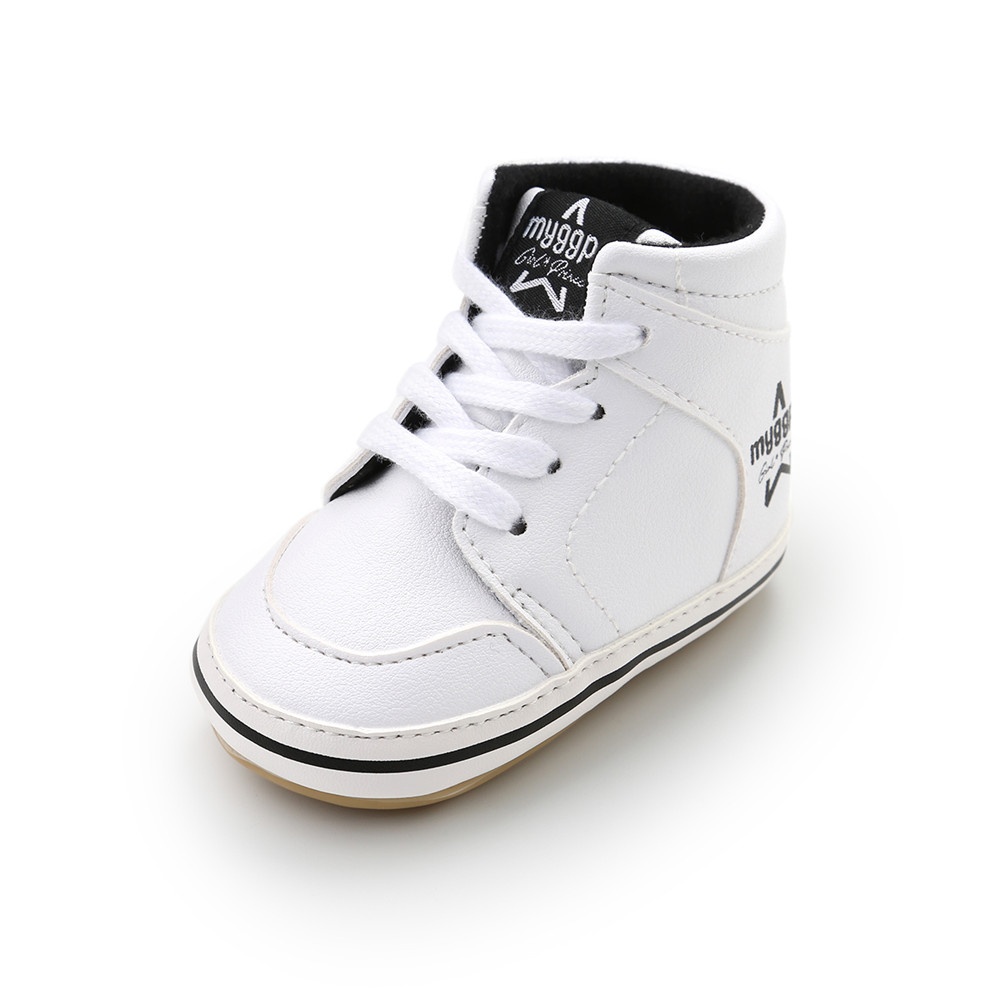 2018 High Side Baby Boy Shoes Lace-up Anti-slip Rubber Sole Leather Toddlers Baby Shoes Solid PU Sneakers Prewalkers Wholesale