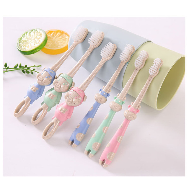 Lovely Animal Shaped Natural Wheat Straw Toothbrush for Children