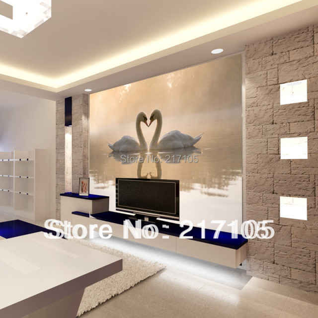 Buy custom 3d wallpaper murals for the living room room swan kiss tv setting for Deco mur tv