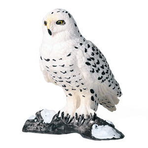 Non Toxic Solid Home Figurine Realistic Decoration Craft Simulation Toy Snowy Owl Shape Garden Easy Clean Miniature Ornament