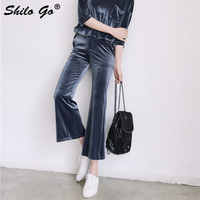 Streetwear velvet flare capris women high waist causal ankle lenght pants 2018 Autumn winter trousers female pants blue black
