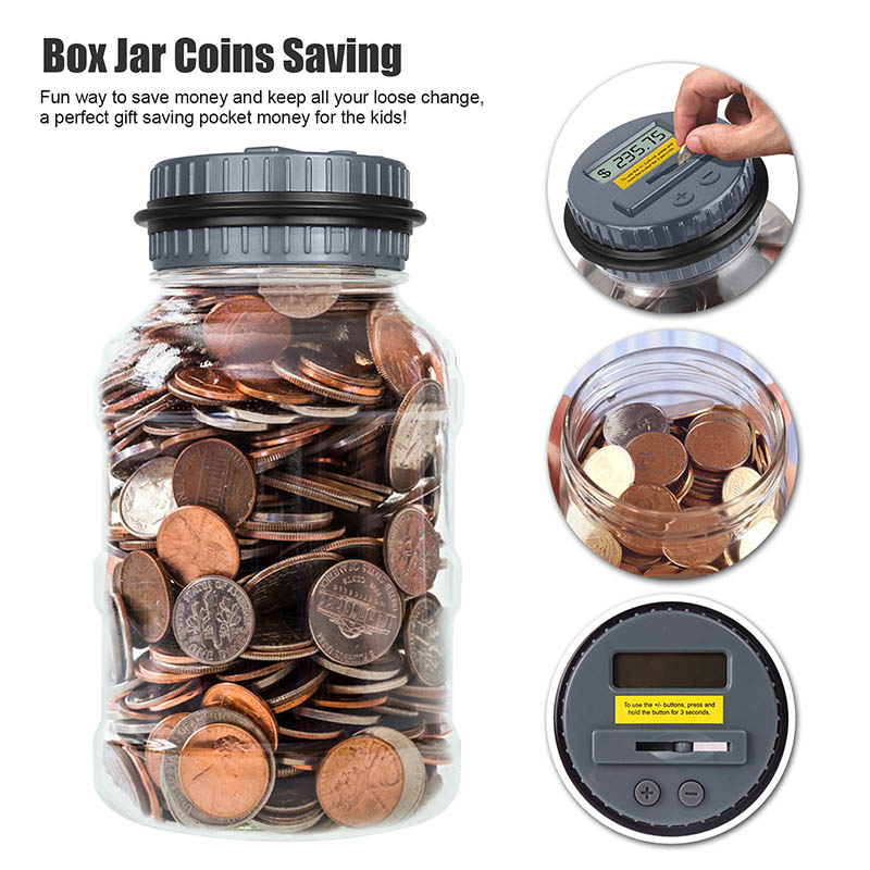 Electronic Coin Bank Money Saving Box Jar Bank Liquid Crystal Computer LCD Display Preserves Safe Digital Counting TQ