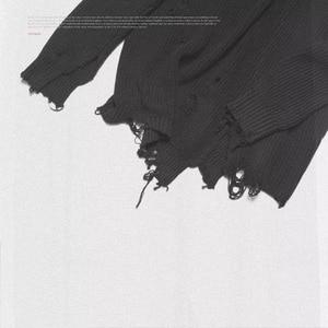 Image 5 - Mùa thu đông nam rách lỗ Miếng dán cường lực quá khổ Áo len dệt kim không đều thiết kế hip hop Punk đan nữ Vintage chui đầu