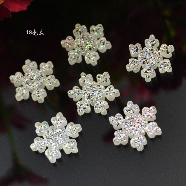 10pcs/lot resin flat back powder snowflake 18mm kawaii cabochons crafts For Hair Cellphone Decoration