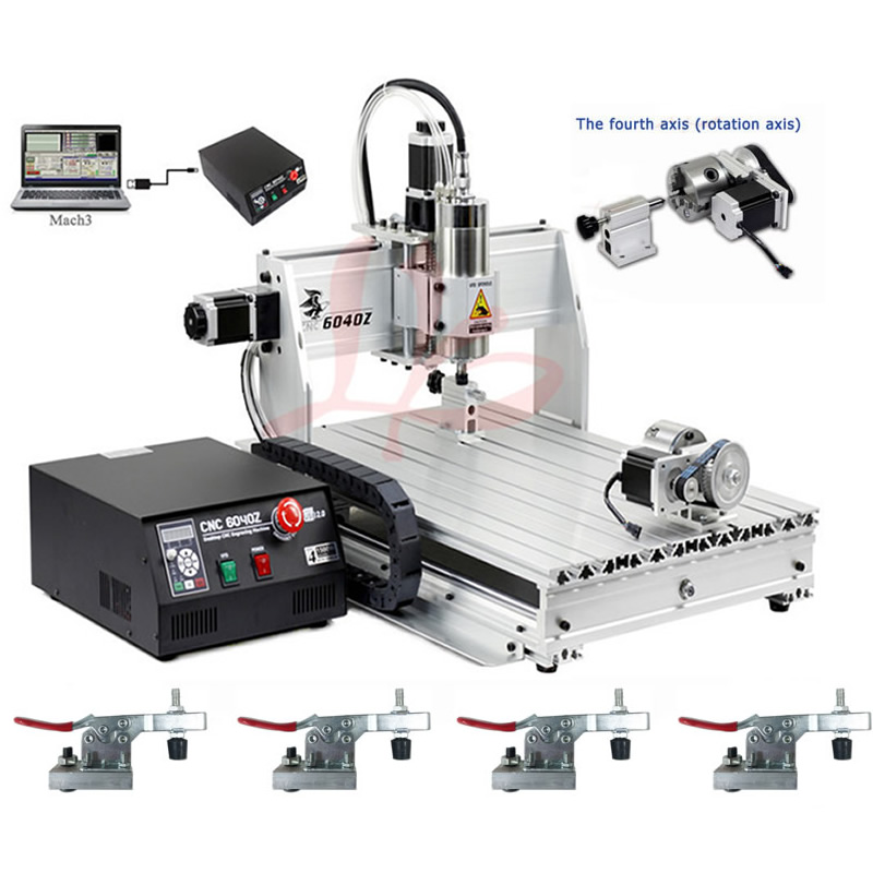 CNC 6040 USB 4 Axis CNC Engraving Machine 1.5KW Water Cooled Spindle CNC Router Mach 3 Manual russia tax free 6040 cnc marble cutting machine 4 aixs cnc spindle 1 5kw water cooled for 3d glass design