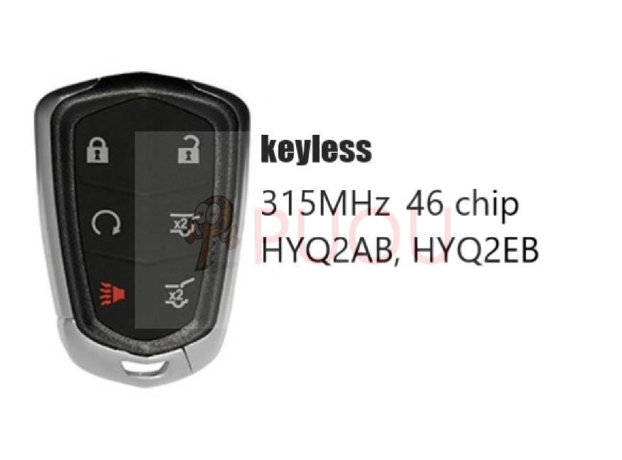 Keyless Entry Remote Car Smart Key 6 button 315MHz 46 chip for Cadillac ATS CTS SRX XTS HYQ2AB, HYQ2EB
