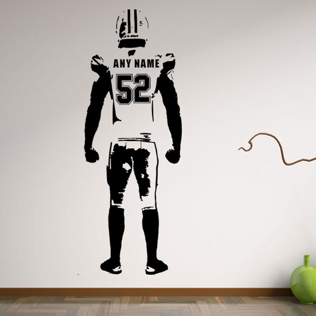 Wall art Football Wall Decal Decor Custom jersey name and number ...