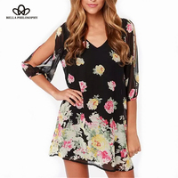 2015 Spring Summer New Womenswear Wholesale V Neck Sexy Floral Printed Black A Line Chiffon Dresses