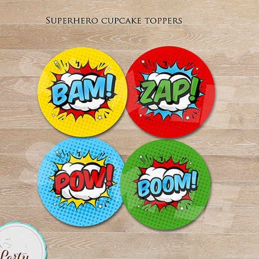 Superhero Sticker Candy Labels Cupcake Toppers Birthday Party Decorations Kids Sticker Label for Birthday Party Supplies