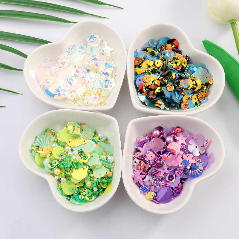 DIY Sequin For Craft Mix Star Flower Shell Leaf Shapes Sequins Lentejuelas Pearls Glass Seed Beads DIY Apparel Sewing & Fabric
