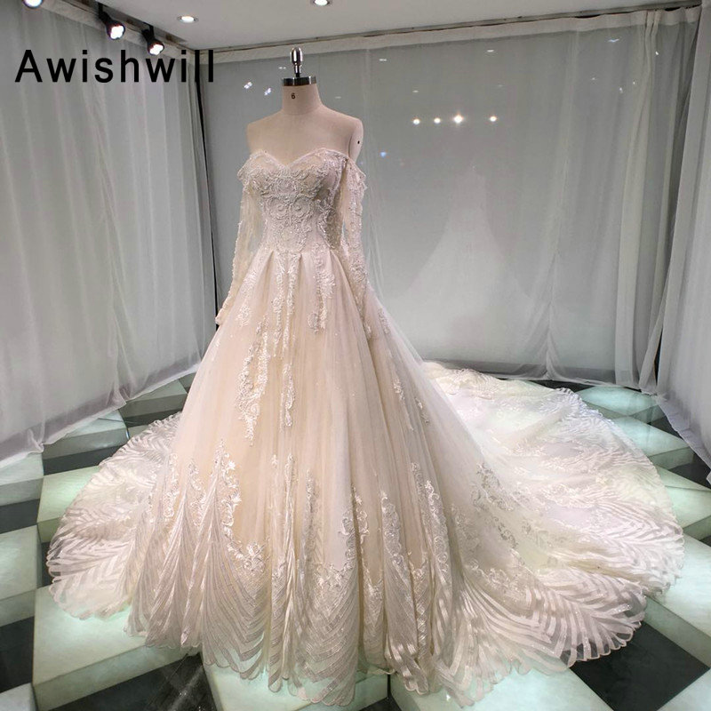 Custom Made Chapel Train Wedding Dresses Off The Shoulder Long Sleeves Beading Lace Tulle Bride Wedding Gown Robe de Soiree
