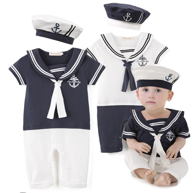 Summer Newborn Baby Rompers Suit High Quality Kids Boys Girls Romper+Hat Navy Style Cotton Short-sleeve Sailor Body Suits H584