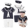 Verano Bebé Recién Nacido Mamelucos Traje de Alta Calidad Niños Niñas Mameluco + Sombrero de Marinero de manga Corta de Algodón de Estilo Navy Trajes de cuerpo H584