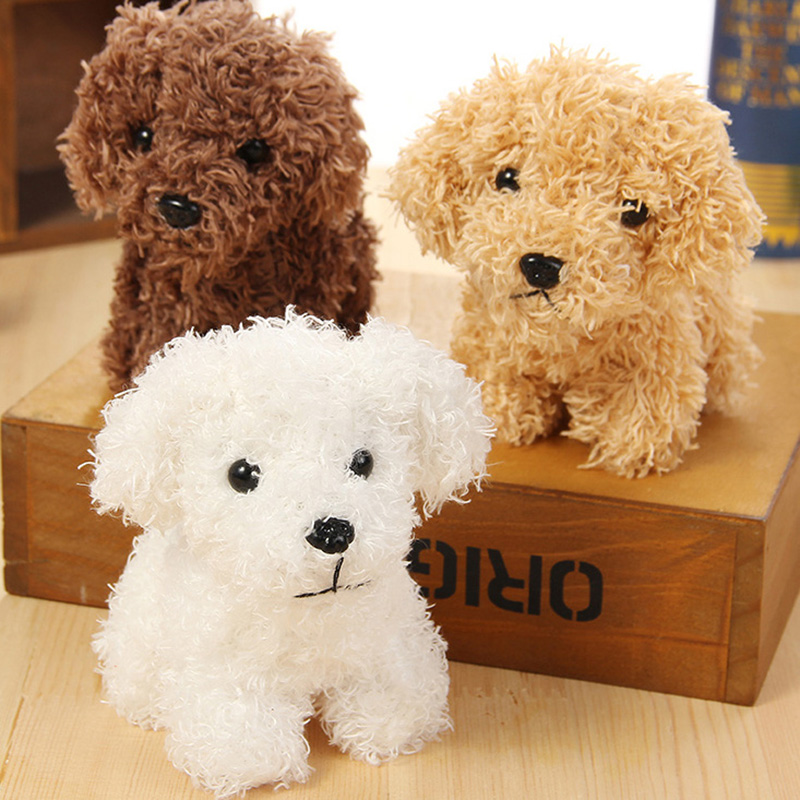 12 Cm Simulation Teddy Dog Poodle Plush Toys  Animal Suffed Doll Key Chain Ring Pendant Plush Toys For Christmas Gift