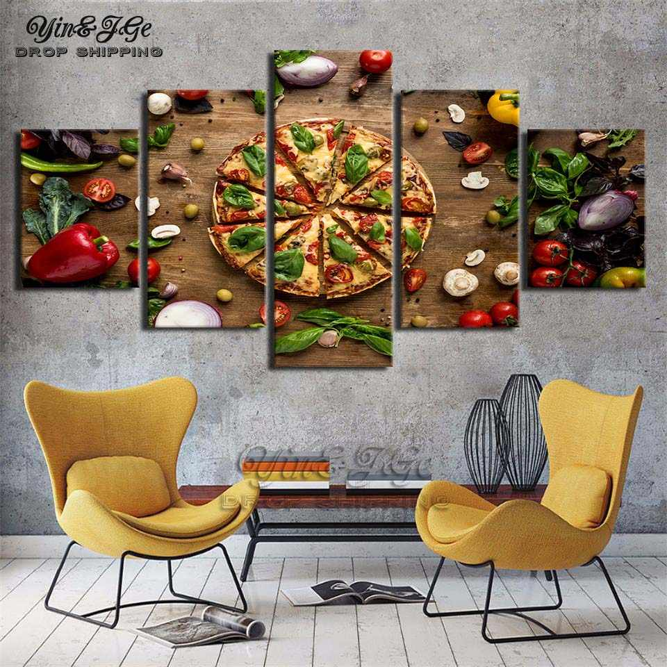 Modern hd printed wall art canvas painting 5 pieces pizza food posters pictures cuadros decoration kitchen frameworks artworks