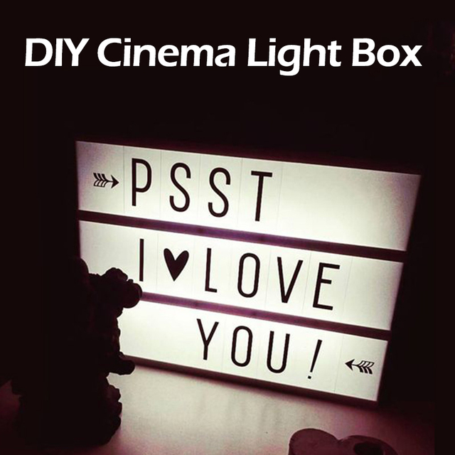 DIY LED Cinema Light Box Letter Rechargable Lithium Battery night Lamp 180 PCS letters Included for Christmas decoration