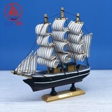 LUCKK 20CM Mediterranean Sailing Model Ornament Home Interior Decor Miniature Marine Crafts Nautical Room Birthday Gift Figurine