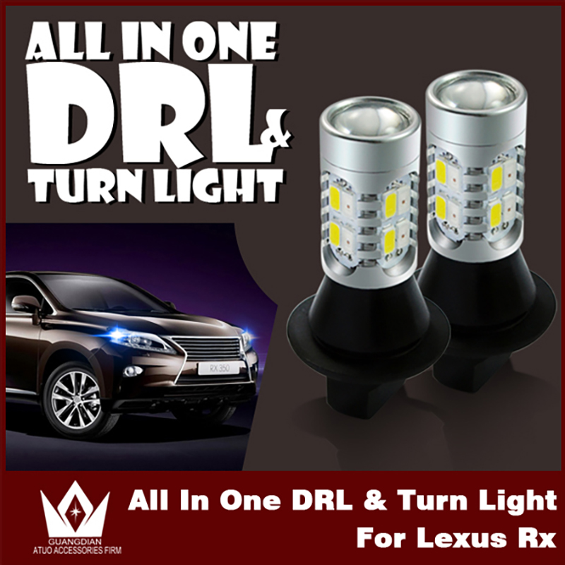 Tcart 2pcs Car LED DRL Turn Signals Daytime Running Lights with Switchback Auto Led Bulbs all in one WY21W For Lexus RX330 2005 tcart 2x auto led light daytime running lights turn signals for toyota prius highlander for prado camry corolla t20 wy21w 7440