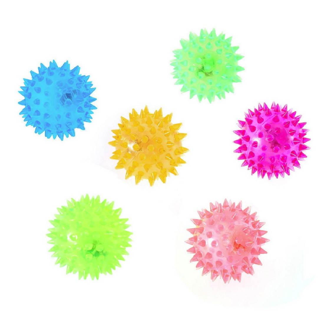 High Quality 1pcs Dog Puppy Cat Pet LED Squeaky Hedgehog Ball Rubber Bell Sound Ball Fun Night Light Playing Toy Free Shipping