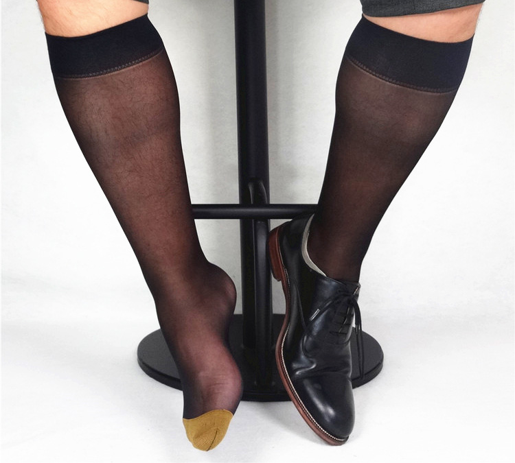 2018 New style Men Formal dress socks High quality Brand Thin Male socks Sexy Golden toe Hose Gay Stockings Silver Toe