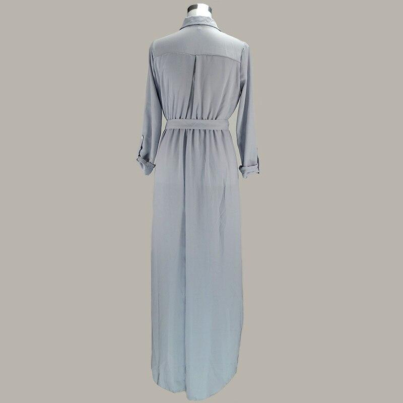 e5cc29f44edc1 Sexy Women Tunic Robe Maxi Duster Dress Side Split Bow Tie Pocket ...