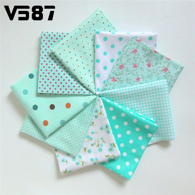 9Pcs Cotton Flower Polka Dots Pre Cut DIY Handmade Decor Charm Cloth Squares Quilt Household Patchwork Sewing Fabrics Textiles 5
