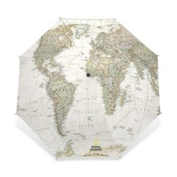 2017 Women S Men S Vintage World Map Umbrella Parasol Automatic 3 Folding Sun Rain Women