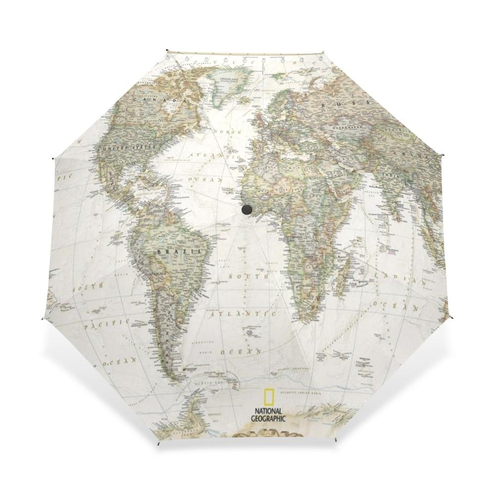 World Map Windproof Rainproof Automatic Foldable Umbrella,Travel Umbrella Compact Sun//Rain Hot-selling