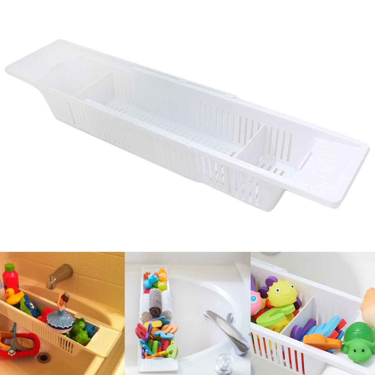 plastic retractable bath tub shower kids toys storage basket organizer bath towels storage holder anti slip