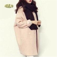 2019 Winter Fashion Women New Coat Long sleeve Medium Long High quality Wool Coat Loose Super Warm Woolen Coat Women G1814