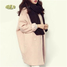 winter fashion women  coat long sleeve medium long  wool coat loose super warm woolen coat women g1814