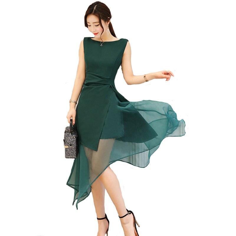 Black Sleeveless Summer Dress Women Robe Femme Irregular Hem Maxi Organza Party Dress Elegant Sexy Tank Long Dress Jurken C4299
