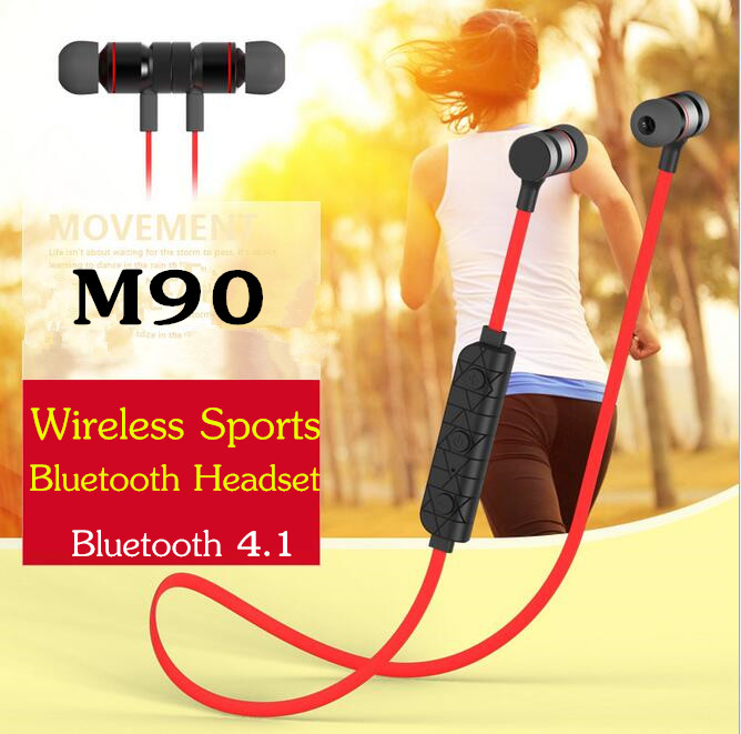 M90 Wireless Stereo Sports Bluetooth Headset Magnetic Adsorption Handsfree Headphone Earphones For iphone 7 Samsung And More high quality portable wireless bluetooth headphone stereo audio headset earphone support fm handsfree for iphone samsung