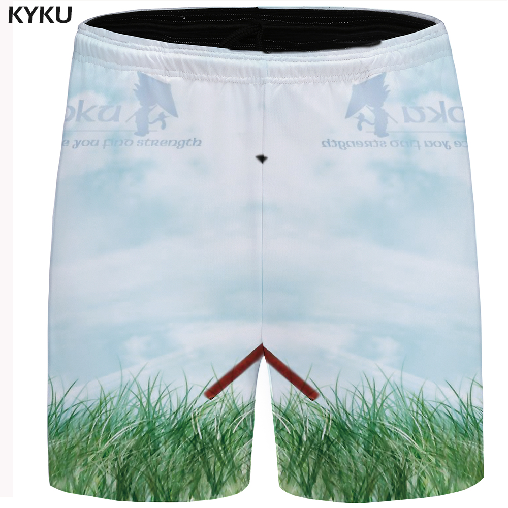 KYKU Brand Dragon Ball Shorts Men Goku Cargo Short Sky White Casual Shorts Beach Short Hip Hop Mens Shorts Summer 2018 Big Size