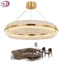 Youlaike гостиная светодиодный LED люстра роскошные современные хрустальные лампы двойной слои висит Cristal Lustre обеденная золото освещение