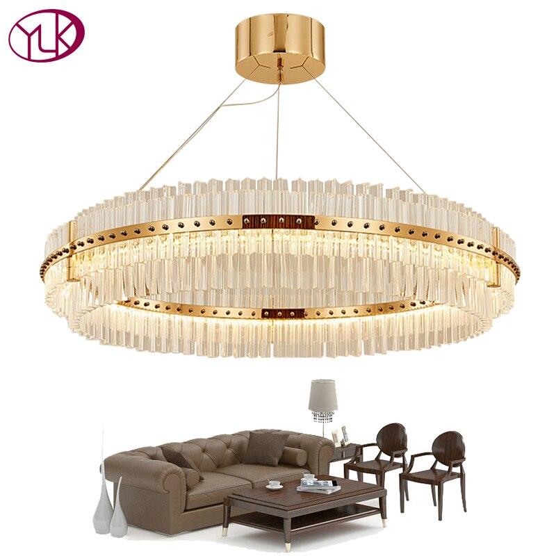 Youlaike Salon LED Lustre De Luxe Moderne Lampe En Cristal Double Couche Pendaison Cristal Lustre Salle À Manger D'éclairage D'or
