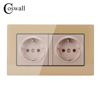 Coswall Wall Crystal Glass Panel Power Socket Grounded 16A EU Standard Electrical Golden Double Outlet 146mm
