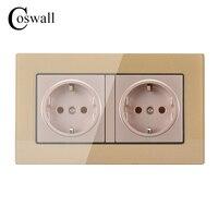 Coswall 벽 크리스탈 유리 패널 전원 소켓 접지 16A EU 표준 전기 황금 더블 콘센트 146 미리메터 * 86 미리메터