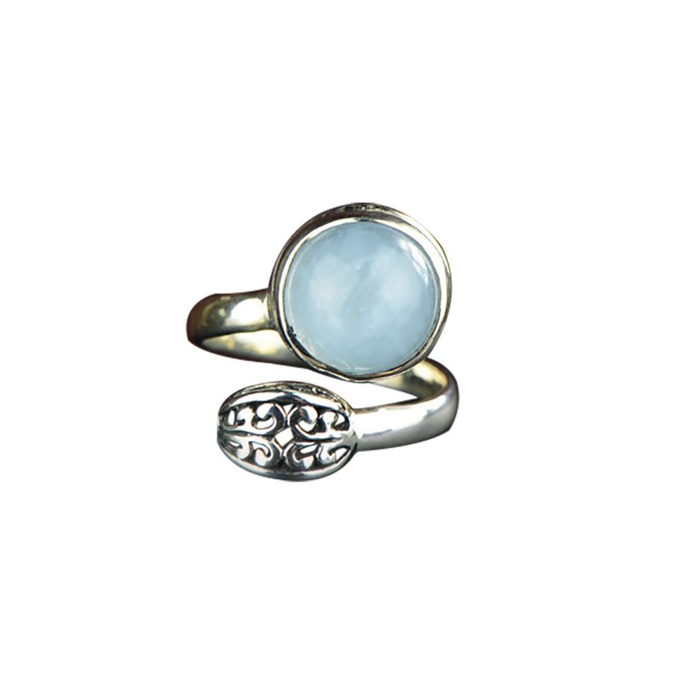 New Authentic 925 Sterling Silver Adjustable Ring For Women Natural Aquamarine Gem Stone Ring Fine Jewelry Style