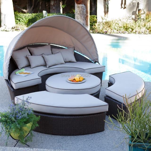 Outdoor Garden Rattan Furniture HAWAII Love Sofa Bed Black Wicker