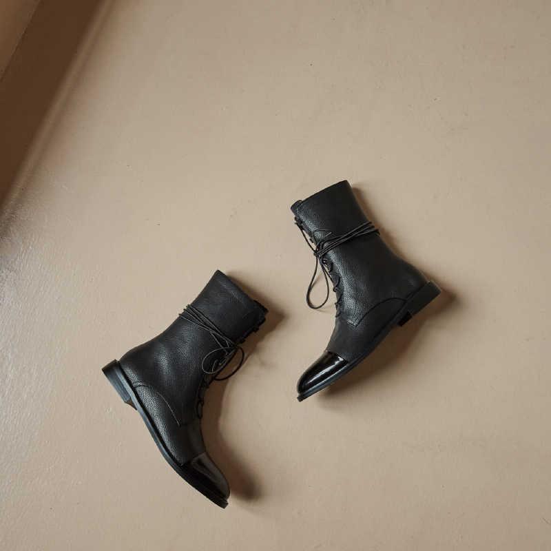INS HOT vrouwen Mid-kalf laarzen Lederen teen 22-25 cm voeten lengte Koeienhuid stiksels lakleer classic Martin laarzen