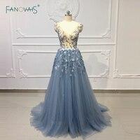 Sheer Evening Dresses Long 2019 Prom Dresses 3d Flower Beaded Lace Evening Gown Dress Elegant Party Gown Vestido de Fiesta NE20